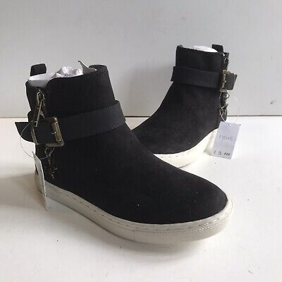Next Boots Girls Black Faux Suede Trainer Style Ankle Boot Brand New UK 13 EU 32