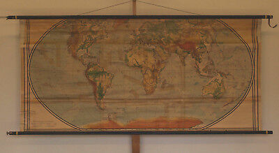 Schulwandkarte Beautiful Old Physiche World Map 213x98cm Vintage ~ 1941