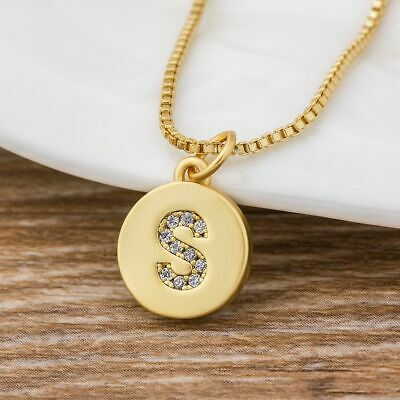 Customized Women Girls Gold Initial 26 Letters Necklace Long Charm Personalized