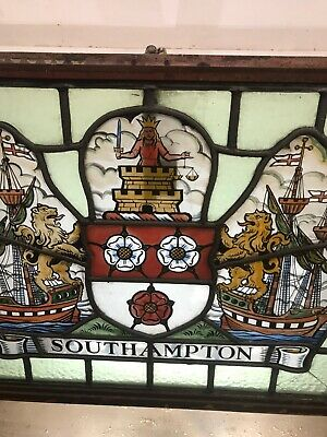 Stained Glass Window Hand Painted Antique Period Lead Old Southampton Fc Crest