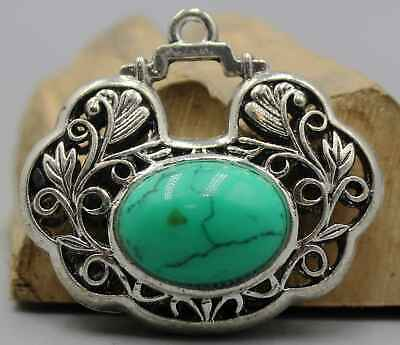 AAA Collectable China Culture Tibet Miao Silver Handwork Turquoise Noble Pendant