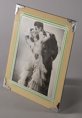 1930's Art Deco Machine Age Easel Back Reverse Painted Picture Frame Modernist
