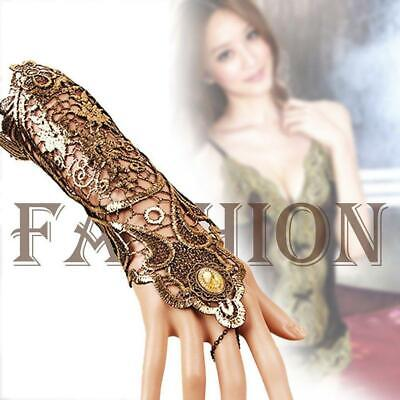 Sexy Women Ladies Steampunk Goth Party Costume Gloves Wrist Length Gloves BR