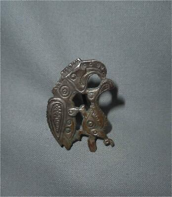 Antique Europe TOP HIGH AGED ROMAN ERA SILVER FIBULA EAGLE CATCHING BIRD