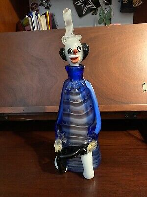 Vintage Large Murano Clown Decanter Art Glass (White and Blue) 13.5""