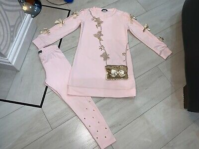 Girls Designer Kate Mack Outfit Dress & Leggings Age 6 Years Good Condition