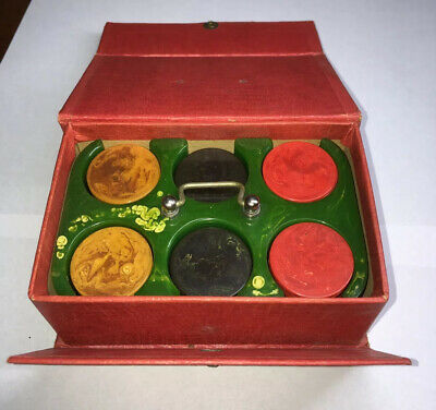 Antique Bakelite Catalin Miniature Poker Gambling Chips Set With Caddy Holder