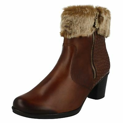 Ladies Remonte R3358 Red Leather Warm Lined Long Boots