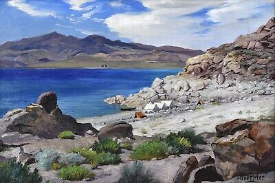 George Peter oil painting - Pyramid Lake, Nevada, late 19th/early 20th century