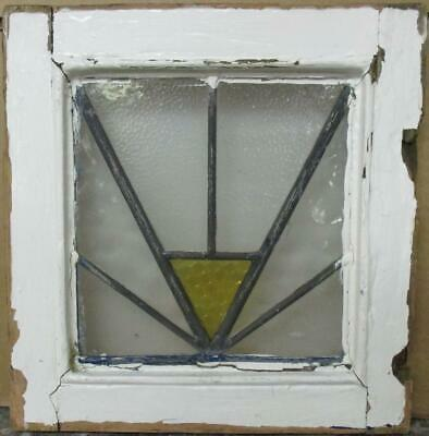 "OLD ENGLISH LEADED STAINED GLASS WINDOW Cute Tiny Geometric Design 12"" x 12.5"""