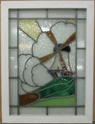 "MIDSIZE OLD ENGLISH LEADED STAINED GLASS WINDOW Stunning Windmill 21.5"" x 28.5"""