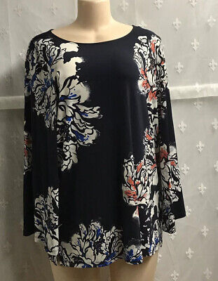 The Limited Collection Women's Navy Multi-color Floral Top Sz L Large