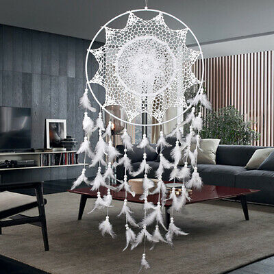 White Large Hoop Handmade Dream Catcher Feathers Hanging Dreamcatcher Home D New