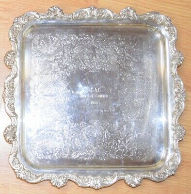 "OLD ENGLISH Poole 5915 Square Footed Tray 14"" Silverplate Server Horse 1984"
