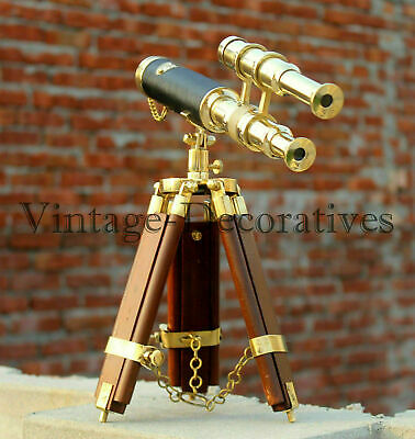 Brass Telescope Working Nautical Double Barrel Marine Wooden Tripod Stand Decor