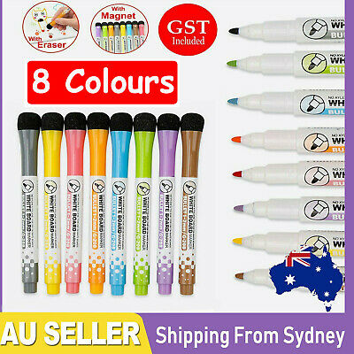 8Colours Non-toxic Painting Erasable Markers Mark Pen Magnetic Whiteboard Pen AU