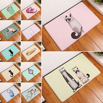 Cute Cartoon-cat Pattern Floor Kitchen Carpet Anti-slip Door Mat Household Mats