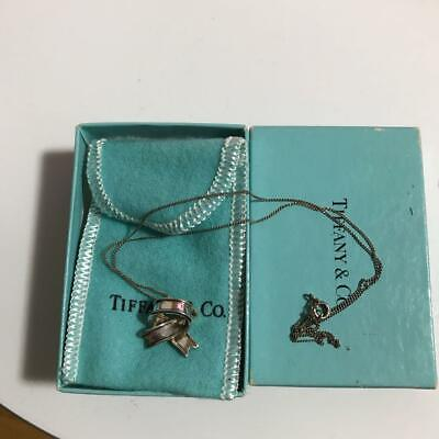 Tiffany & Co. Ribbon Bow Pendant Sterling Silver Chain Necklace Jewelry w/Box