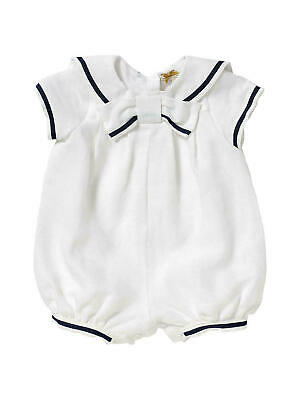 John Lewis Baby Linen Sailor Christening Romper/ White 0-3 Mths New with Defect