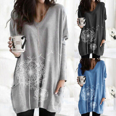 Plus Size Womens Pocket Jersey Tunic Tops Ladies Long Sleeve Baggy Blouse Dress