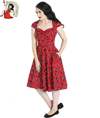 Hell Bunny SHERWOOD Vintage FLOCK Retro SWING DRESS Kleid Rockabilly