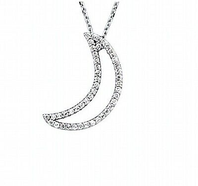 Diamond Crescent Moon Necklace 1/5 ctw 14kt Yellow, Rose White Gold