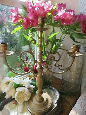 SUPERB ANTIQUE FRENCH SOLID BRASS SCROLLING THREE BRANCH CANDELABRA EARLY 1900's