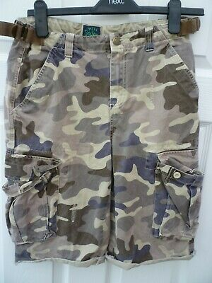 MINI BODEN  Boys Age 11 12 Years Brown Adjustable Camouflage Denim Cargo Shorts