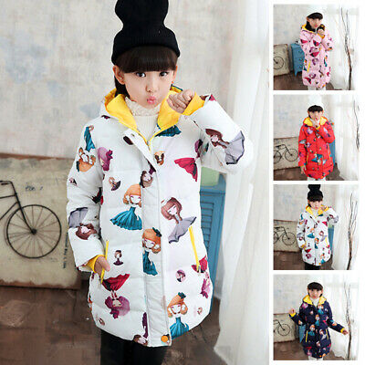 Girls Kids Padded School Quilted Winter Coat Cartoon Jackets Hooded Long Parka