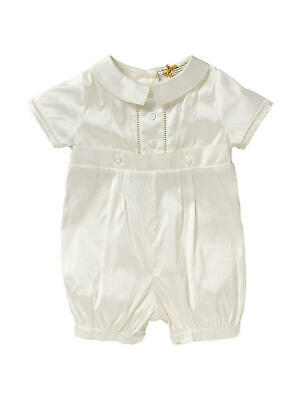 John Lewis Baby Silk Button Christening Romper/ Cream 6-9 Months New with Defect