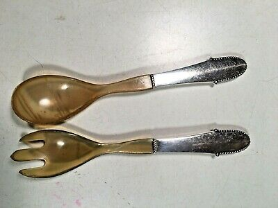 Beaded Georg Jensen Sterling silver and horn salad servers