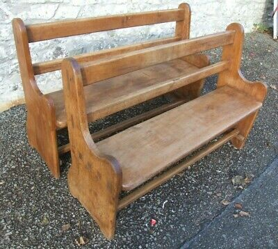 Pair of antique pine 4ft pew settle chapel church benches for kitchen table