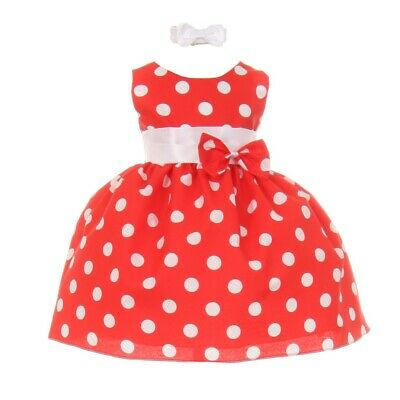 Baby Girls Red White Polka Dot Bow Sash Headband Special Occasion Dress 12M
