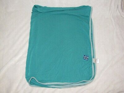 Kickee Kicky Pants Green Turquoise Blue Solid Swaddle Blanket Bamboo Viscose