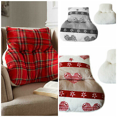 Back Support Cushion for chair or bed, Highland Tartan red / Nordic Heart Grey