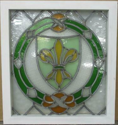 "OLD ENGLISH LEADED STAINED GLASS WINDOW Stunning Fleur De Lis 20.5"" x 22.5"""