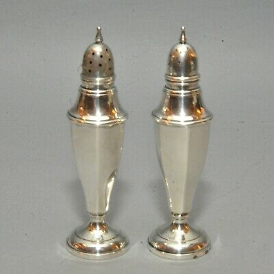 Pair Sterling Silver Weighted Pedestal Style Salt & Pepper Shakers #1911