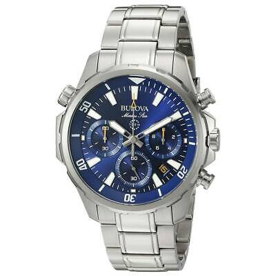 Bulova Men's Quartz Marine Star Chronograph 6 Hand Calendar 43mm Watch 96B256