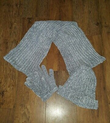Ladies Chenille Hat Scarf And Glove Set Grey. Beautiful Gift