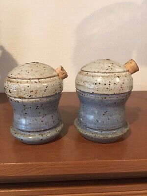 Signed Studio Art Pottery Chunky Salt & Pepper Shakers EUC