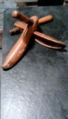 Unusual Antique Ladies Large Wooden Treen Shoe Inserts Stretchers