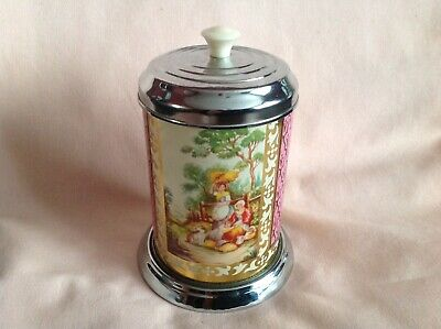 Vintage Rare Art Deco Chrome Tea Caddy In Very Good  Used Cond Made In England.
