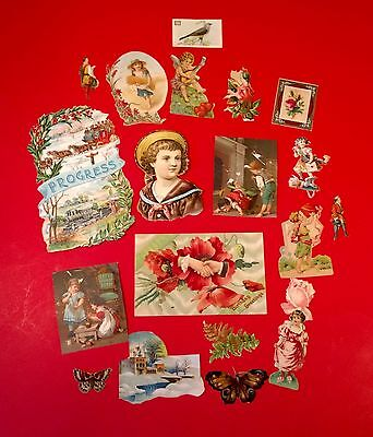 1880s Victorian DIE-CUT Chromo SCRAPS LOT Sentiment HAND Roses, Butterflies, etc
