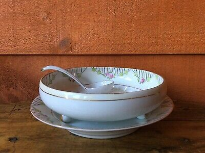 Nippon Noritake Footed Berry Bowl With Underplate And Spoon