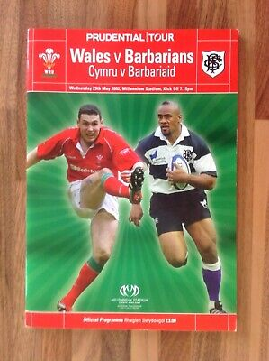 Wales  V Barbarians Rugby Union Programme 2002.