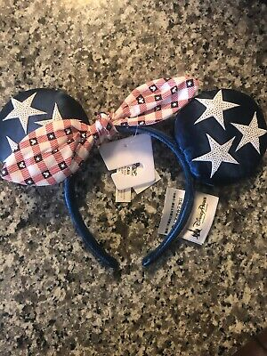 DISNEY Parks EAR HEADBAND Adult USA THEME MINNIE Mouse NWT ALL AMERICAN GIRL