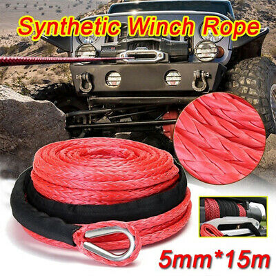 3/16'' x 50' 4500LBs Synthetic Winch Line Cable Rope With Sheath ATV UTVSPUK