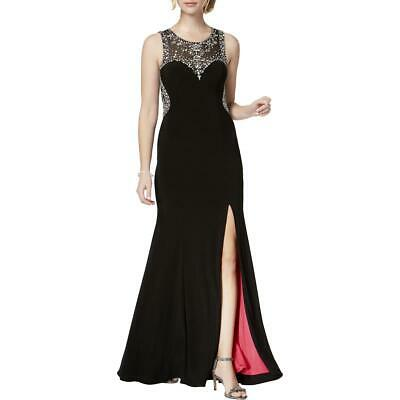 Betsy & Adam Womens Black Embellished Prom Evening Dress Gown 8 BHFO 1091