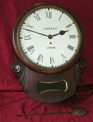 Good Original English Mahogany Cased Fusee Drop Dial Clock