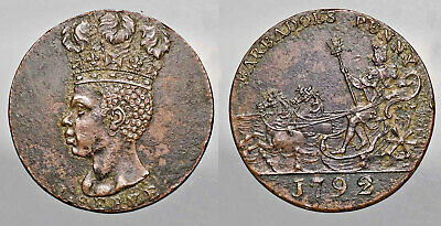 1792 Barbados Penny Coin KM# Tn10 RARE 39k Minted